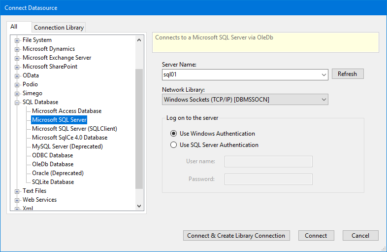 Connecting to MS SQL Server and SQL Azure