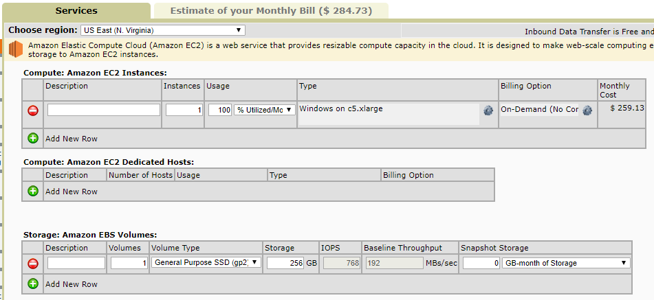 AWS c5.xlarge costs