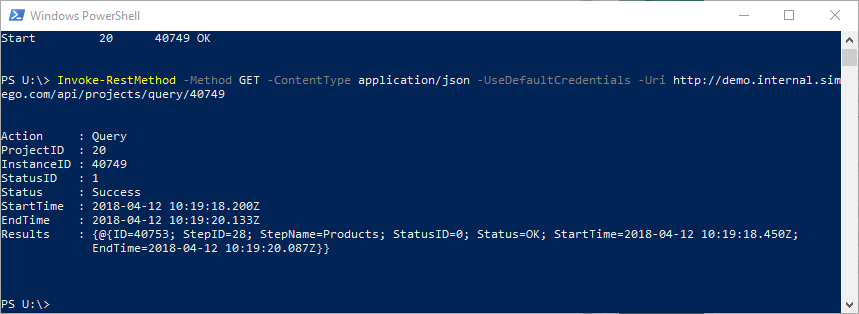 PowerShell Query API