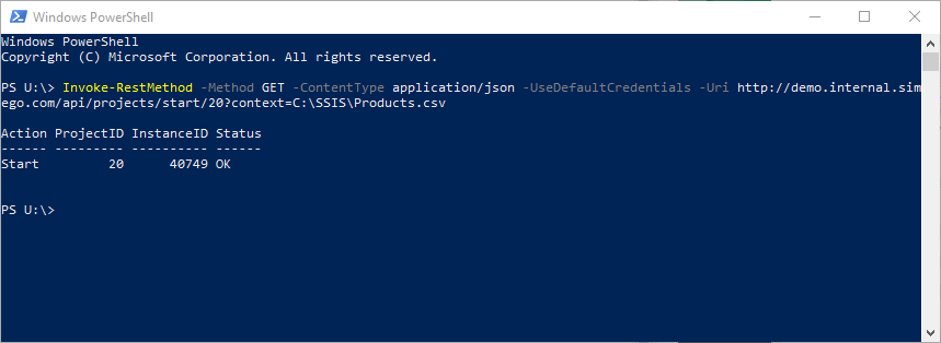 PowerShell Start API