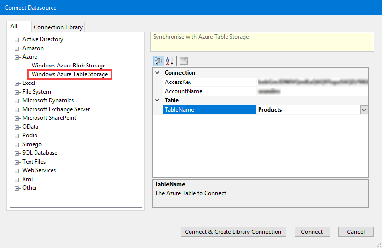 Connect to Azure Table Storage
