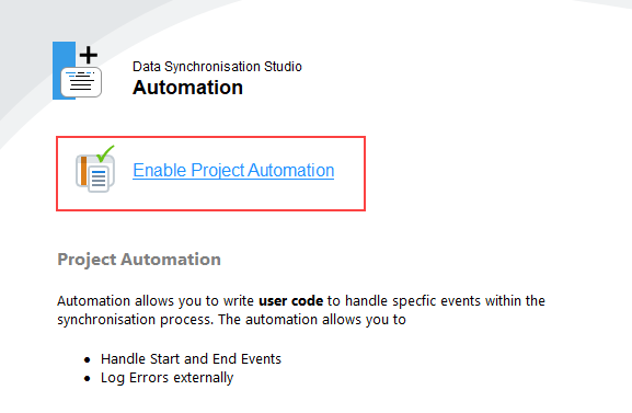 Enable Project Automation