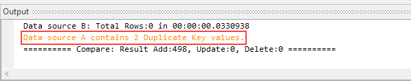 Duplicate Keys Output Window