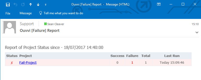 Status Report Failure Message